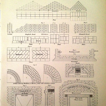 Brick Work Print  Vintage Building Book Plate by CasaAndCo on Etsy