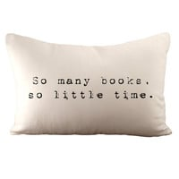 So Many Books So Little Time - Hemp and Organic Cotton Cushion Cover - 12x18