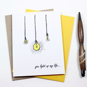 I Love You Anniversary Card For Wife or Husband - You Light Up My Life - Card for Boyfriend - Girlfriend