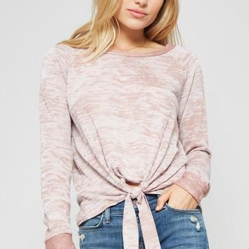 burnout long sleeve tie up top