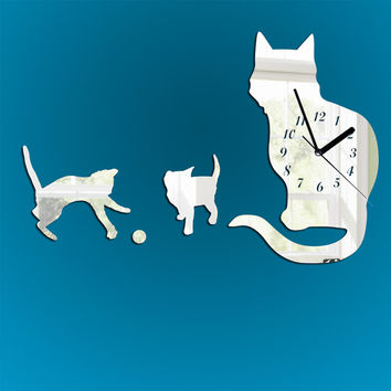 modern wall clock, Shatterproof black or mirror clock, livingroom wall decal, cats wall clock decorative wall clock, animal wall clock