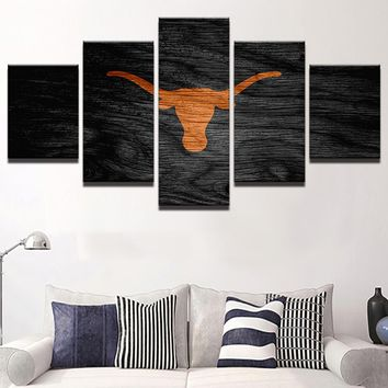 Texas Longhorns: 5pc Orange Longhorn Wall Art; 3 sizes available, with or without frames