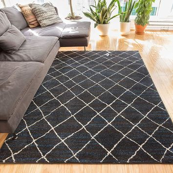 6119 Blue Moroccan Lattice Vintage Area Rugs