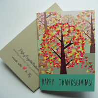 Happy Thanksgiving Card, Fall Holiday Greeting Card, Fall Forest Art Card, Give Thanks Blank Card, Colorful Autumn Leaves Card, fall gift