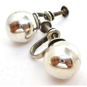 Mexican Sterling Silver Ball Earrings Vintage MVM