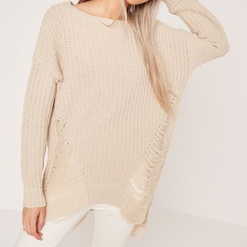 Missguided - Distressed Off Shoulder Jumper Cream