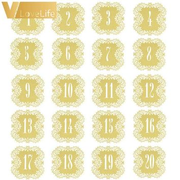 20pcs/set Wedding Table Number Table Cards 1-20 Hollow Laser Cut Card Numbers Vintage Wedding Decoration Event Party Supplies
