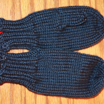 Navy Dark Country Blue Kids' Mittens - Hand Knit for Ages 3+ - Machine Washable Classic Mittens