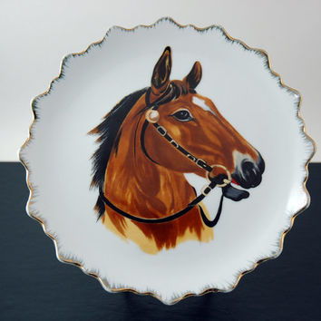 "Vintage Mid Century Wall Plate with Horse Head, 7 1/2"" Decorative Porcelain Wall Plate"