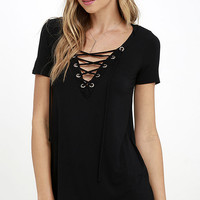 Enjoy the Ride Black Lace-Up Top
