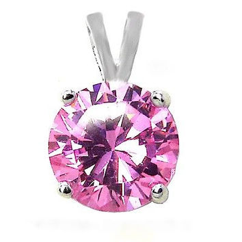 1.25 ct. Created Pink Diamond Solitaire Pendant Necklace ~ Solid Sterling Silver