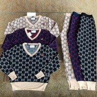 """Gucci"" Women Casual Fashion Knit Letter Embroidery Long Sleeve Trousers Set Two-Piece Sportswear"