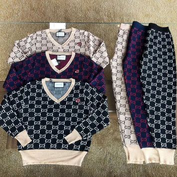 """""""Gucci"""" Women Casual Fashion Knit Letter Embroidery Long Sleeve Trousers Set Two-Piece Sportswear"""