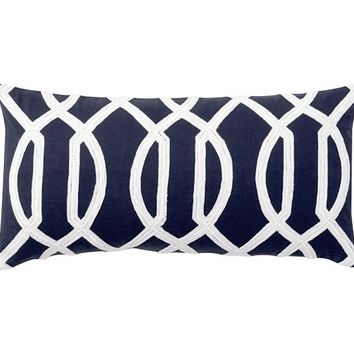 Trellis Embroidered Pillow Cover