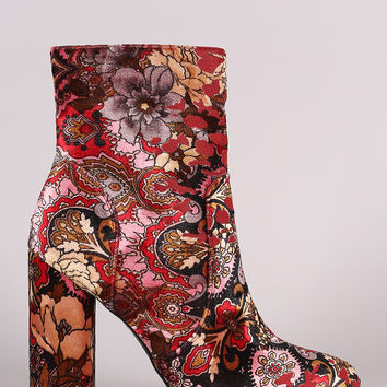 Floral Print Velvet Chunky Heel Ankle Boot