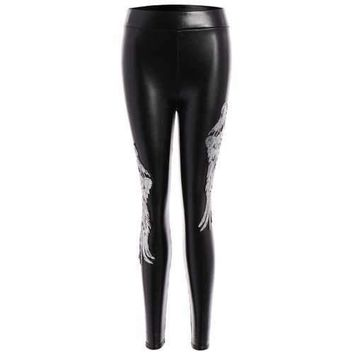 Sequins Wing Beam Feet Faux Leather Leggings - Silver M
