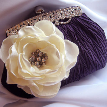 Plum Purple Satin Rhinestone Framed Wedding Bridesmaid Clutch with Ivory Satin Flower and a  Rhinestone Accent