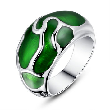 Stainless Steel Liquid Pattern Green Epoxy Ring