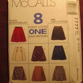 SALE Uncut 1995 McCall's Sewing Pattern, 7777! 12-14-16 Medium/Large/Women's/Misses/Flared Skirts/Pleated Skirts/Uniform Skirts/Mini Skirtts