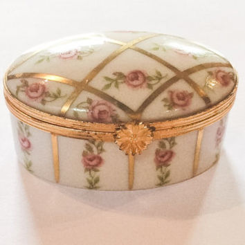 Limoges Pink Rose Trinket Box, Hand Painted, French Vintage, WINTER SALE