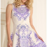 Party dresses > White Victorian Print Skater Dress