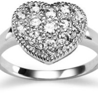 Sterling Silver Cubic Zirconia Heart Ring: Jewelry: Amazon.com