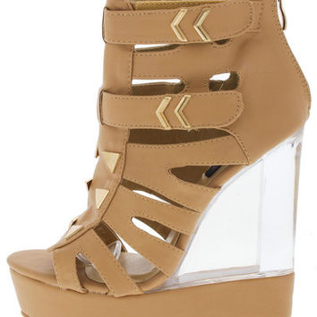DEMI03 BEIGE STUDDED CLEAR LUCITE WEDGE