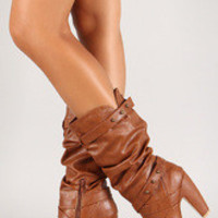 Leatherette Slouchy Mid Calf Round Toe Boot