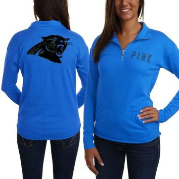 Victoria's Secret PINK Carolina Panthers Ladies Half-Zip Sweatshirt - Panther Blue