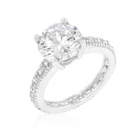 Micro-pave Cubic Zirconia Engagement Ring, size : 08