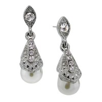 Downton Abbey® Jewellery Silvertone Simulated Pearl and Crystal Drop Earrings