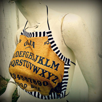 Ouija spirit Board Halter top psycho stripe one size fits most
