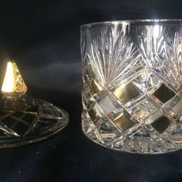 Bohemia crystal cut glass - Dosa 21cm decorated gold