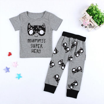 Kids Cat Letter Printed T-shirt  Tops+Long Pants 2 Pieces