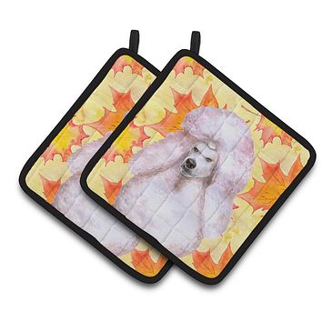 White Standard Poodle Fall Pair of Pot Holders BB9978PTHD