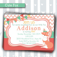 Cute Little Fox 1st Birthday Invitation | Baby Girl Woodland Animals Invite | Baby Shower Invitation