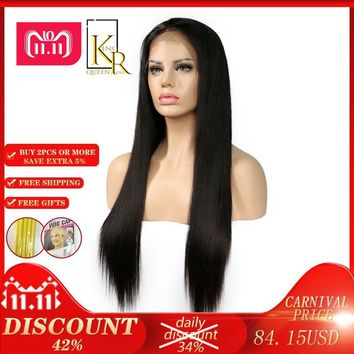 Cool Full Lace Human Hair Wigs For Women Pre Plucked With Baby Hair Brazilian Straight Remy Hair Lace Wig Black Color King Rosa QueenAT_93_12