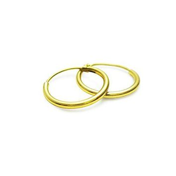 Sterling Silver Yellow Gold Flashed Endless Hoop Earrings Small 12mm x 10mm 12mm 24mm