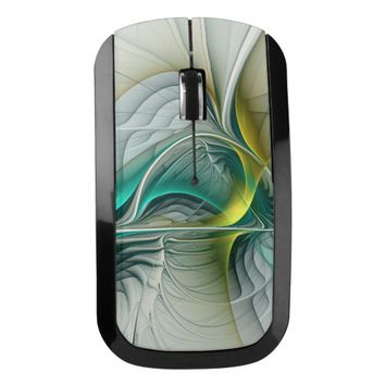 Fractal Evolution, Golden Turquoise Abstract Art Wireless Mouse