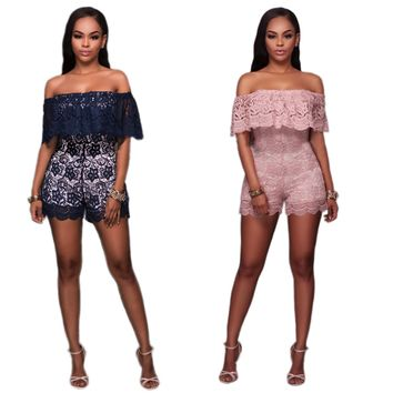 Womens Beautiful Lace Off Shoulder Sexy Romper