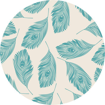 Peacock Feathers Circle Wall Decal