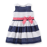 Carter's Newborn-24 Months Sleeveless Wide-Stripe Dress - Navy/Multi