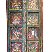 Antique Door Shiva Parvati Ganesha Kartikeya Hand Painted Doors Frame