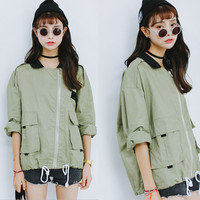 Olive Green Zippered Jacket