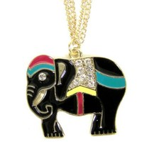 Black Elephant Necklace Crystal Safari Tribal Enamel NC45 Charm Pendant Fashion Jewelry