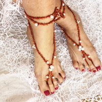 Oriental pearl barefoot sandals, Feet Accessories Summer sandals, Bare sandles shoes, Pearl foot jewelry, Yoga jewelry, Beach accessories