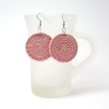 Pink Crocheted Circle Earrings Round Cotton Thread Zen by Aimarro