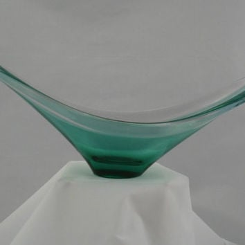 Beautiful Scandinavian style art glass bowl. Turquoise to clear glass bowl in long-winged form. Quality vintage home decor
