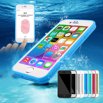 Schookproof Waterproof Case For Apple iphone SE 5 5s 6 6s 6 6s plus TPU Waterproof Screen Touch Phone Cover for iphone 7 7 Plus