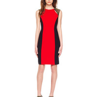 MICHAEL Michael Kors  Two-Tone Stud-Shoulder Dress